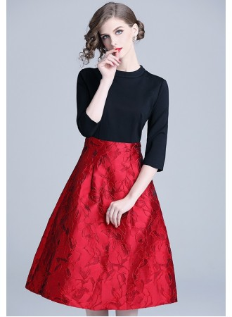 BDS122023T Jacquard red dress REAL PHOTO