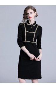 BDS1220333T Gold line trim black dress REAL PHOTO
