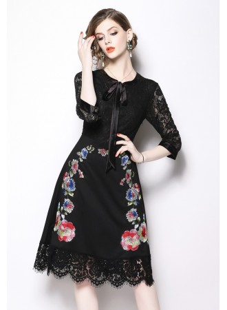 BDS12206337T Embroidery floral lace dress with bow REAL PHOTO