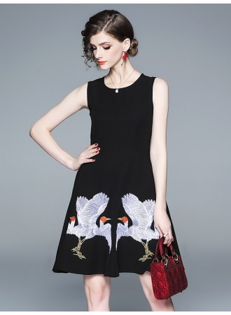 BDS12205213Q Embroidery bird skater dress REAL PHOTO