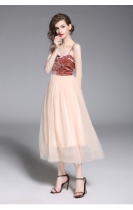 BDS12208606C Bare back velvet netting prom dress REAL PHOTO