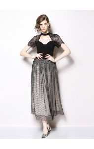 BDS12217669H Heart shape collar lace maxi dress REAL PHOTO