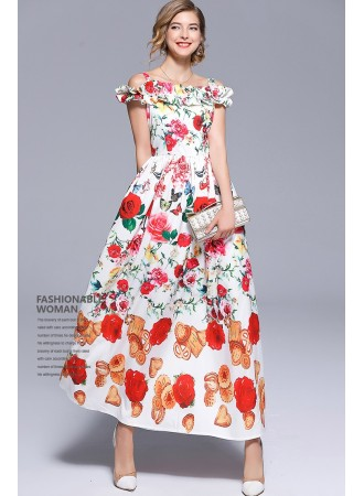 BDS12212257D Off shoulder floral maxi dress REAL PHOTO
