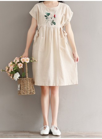 KDS12224302T Embroidery linen dress with side ribbon REAL PHOTO