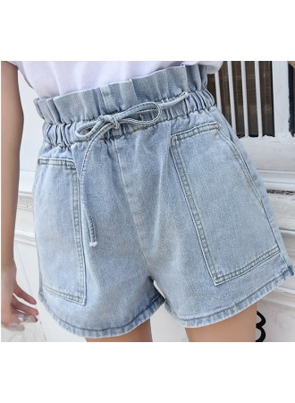KPT1223613D High waist denim short REAL PHOTO