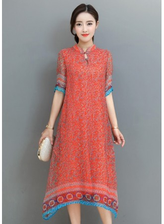 KDS12235251O Printed cheongsum dress REAL PHOTO