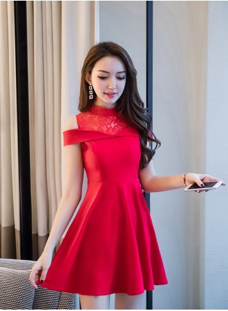 KDS12261256Y Off shoulder lace shoulder dress REAL PHOTO