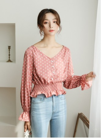 KTP12265506D Polka dot puff sleeves blouse REAL PHOTO