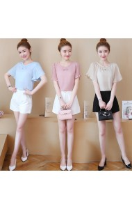 KTP12281233N Pleated sleeves bow blouse REAL PHOTO
