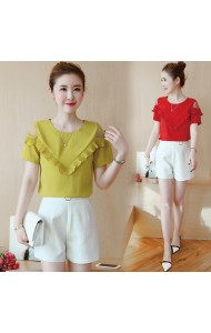 KTP12282803N Pleated off shoulder ruffle blouse REAL PHOTO