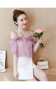 KTP12283228N Ruffle shoulder off blouse REAL PHOTO