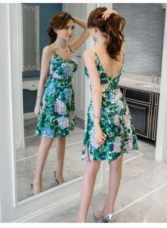 KDS12292209Y V back floral high wait dress REAL PHOTO