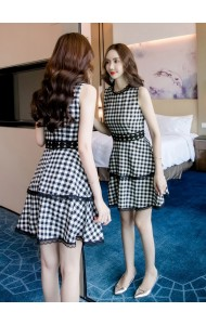 KDS12292309Y Plaid tiered dress REAL PHOTO