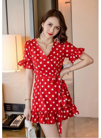 KDS12292508S Polka overlapping ruffle dress REAL PHOTO