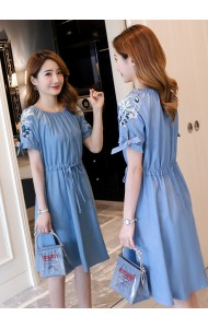 KDS02182268G Off shoulder drawstring embroidered dress REAL PHOTO