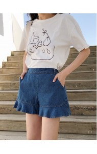 KPT0221861Y Ruffle short jeans REAL PHOTO