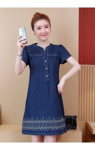 KDS02213196C Embroidery V neck jeans dress REAL PHOTO