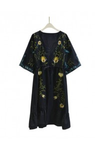 KDS02237908A Embroidery drawstring ethnic dress REAL PHOTO