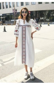 KDS02239908A Puff sleeves embroidery ethnic dress REAL PHOTO