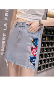 KSK0225719T Patchwork kitty denim skirt REAL PHOTO