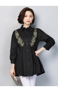 KTP02273611A Plus size embroidery blouse REAL PHOTO