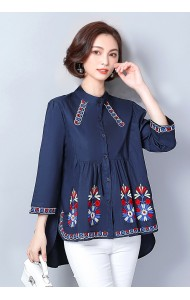 KTP02270911A Plus size embroidery blouse REAL PHOTO