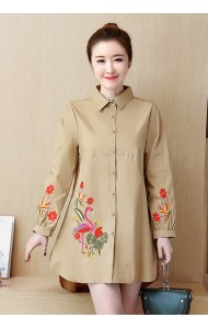 KTP02277811A Plus size embroidery flamingo blouse REAL PHOTO