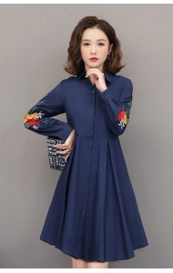 KDS02271431A Plus size collar pleated embroidery dress REAL PHOTO