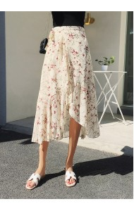 KSK02288188X Slit floral irregular wrap skirt REAL PHOTO