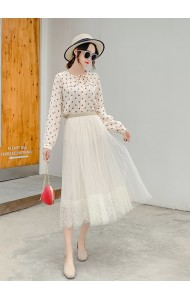 KSK03010298L Lace trim tulle skirt REAL PHOTO