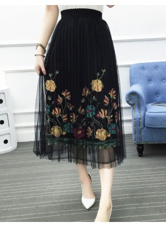 KSK0304853A Pleated embroidery tulle skirt Lace tulle skirt REAL PHOTO