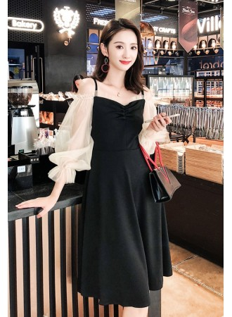 KDS03042599W Puff sleeves dress REAL PHOTO
