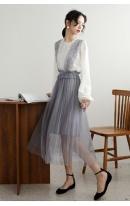 KST0305726X Puff sleeves tulle dress suit REAL PHOTO