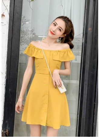 KDS03072038M Off shoulder ruffle dress REAL PHOTO
