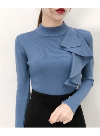 KTP03089189K High neck knit ruffle top REAL PHOTO