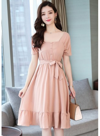 KDS03098178Y Flared dress with bow REAL PHOTO