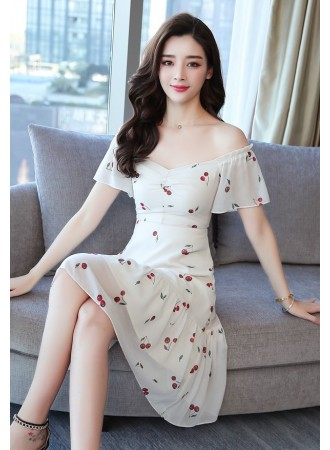 KDS03090378Y Cherry chiffon off shoulder dress REAL PHOTO