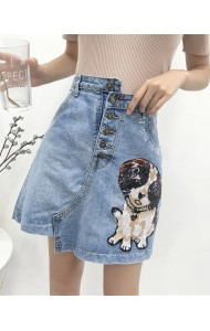 KSK03100596Y Plus size sequin dogie denim skirt REAL PHOTO