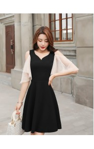 KDS0310673X V neck mesh sleeves dress REAL PHOTO