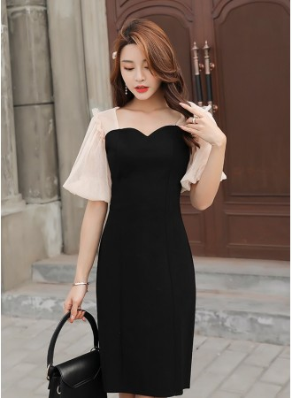 KDS0310573X Puff sleeves slim dress REAL PHOTO