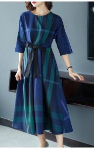 KDS03118201Y Plaid drawstring dress REAL PHOTO