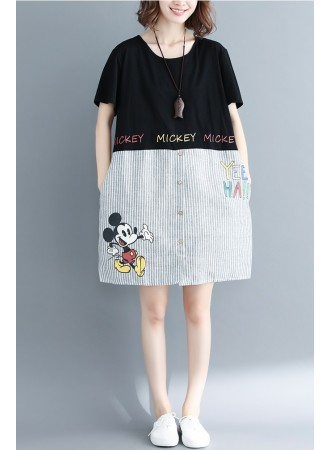 KDS03120568R Stripes mickey plus size dress REAL PHOTO