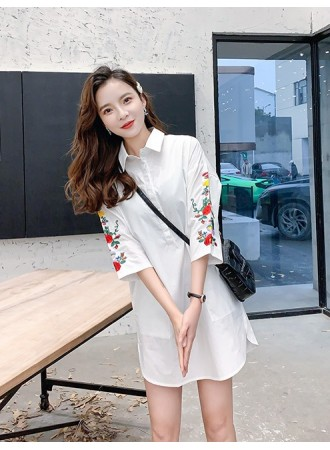 KTP03142019Q Plus size shirt with embroidery sleeves REAL PHOTO