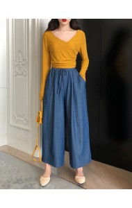 KPT03162119Y Soft denim drawstring culotte REAL PHOTO