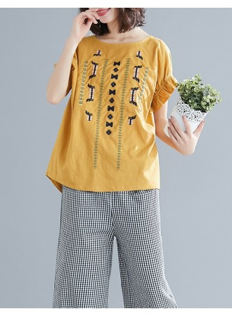 KTP03185991Y Embroidery linen blouse REAL PHOTO