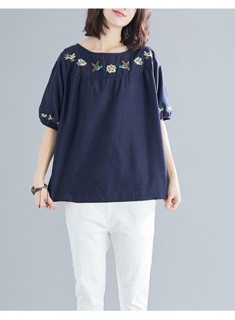 KTP03182991Y Embroidery linen blouse REAL PHOTO