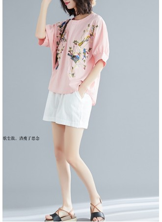 KTP03183991Y Embroidery bird linen blouse REAL PHOTO