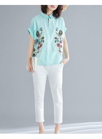 KTP03186991Y Embroidery floral collar linen blouse REAL PHOTO