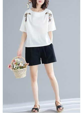 KTP03176991Y Embroidery linen blouse REAL PHOTO