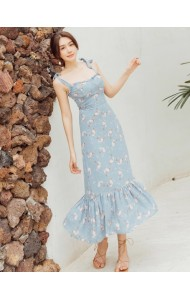 KDS0330902M Mermaid strappy floral dress REAL PHOTO